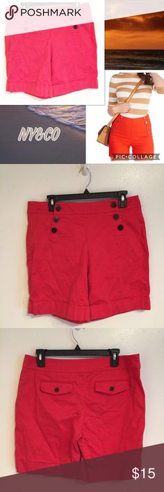 New York & Co High Waisted Sailor Short New York & Company High Waisted Sailor Shorts. Size 10. Stock photo is of similar item for style reference.  #newyorkandcompany #highwaisted #sailor #shorts #shorts #orange #red #punkydoodle  No modeling  Smoke free home I do discount bundles New York & Company Shorts