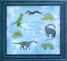 Dinosaur Dreams - cross stitch pattern designed by Susan Saltzgiver. Category: Baby.