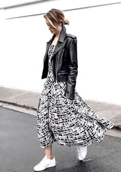 Long Dress And Leather Jacket With White Sneakers 2017 Street Style