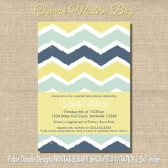 Modern Chevron Baby Boy Shower Invitation, Aqua & Navy 5x7 printable
