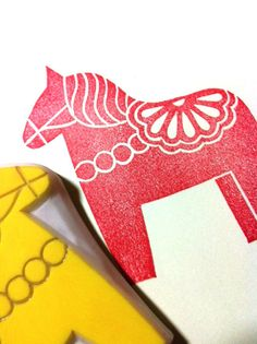 DALA HORSE hand carved rubber stamp handmade by talktothesun