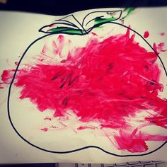 Today our daughter learned how to say the word Apple. So I decided I would draw an Apple and let her finger paint. We also have been reviewing the alphabet and have a picture book with the letters and objects.