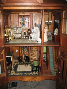 English antique cabinet doll house, well made 2 large rooms, 2 small rooms. Late 1800s