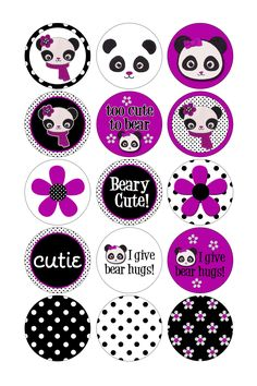 Items similar to Bottle Cap Graphics Made to Match Gymboree Holiday Panda on Etsy Bottle Cap Projects, Bottle Cap Crafts, Diy Bottle, Bottle Cap Jewelry, Bottle Cap Art, Panda Painting, Bottle Cap Magnets, Diy And Crafts, Paper Crafts