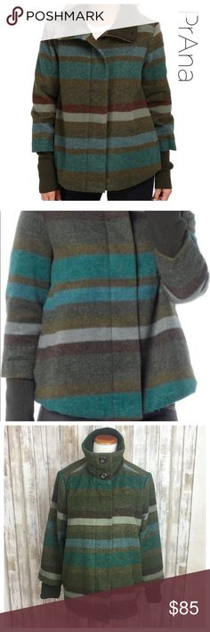 """Prana Lily striped Coat PrAna Lily Jacket. Style and warmth mix in this wool-blend jacket. It has a quilted polyester lining with 60g of synthetic fill to keep the chill out, a hidden front zipper and extra-long rib-knit cuffs. Retail $169. Preowned. Size Large Bust 22"""" Length 25.5"""" •Striped wool blend •Rib cuffs and internal collar •Full zippered front with hidden snaps and buttons at collar •Snap tab on back vent •Hand pockets •Relaxed fit •0208 Prana Jackets & Coats"""