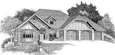 Craftsman Style House Plans - 2530 Square Foot Home , 1 Story, 3 Bedroom and 2 Bath, 3 Garage Stalls by Monster House Plans - Plan 44-182