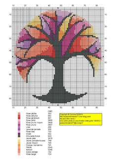 Arbre vitrail (Stained Glass Tree), designed by Corinne Thulmeaux, Passion Broderie 77 blogger.