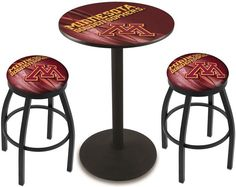 Minnesota Golden Gophers D2 Black Pub Table Set. Available in two table widths.  Visit SportsFansPlus.com for Details.