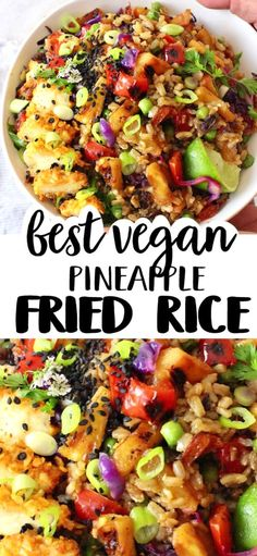 Easy vegan pineapple fried rice made with perfectly stir fried veggies, a simple sweet and savory tamari sauce and tons of flavor. Healthy, filling, gluten free and makes perfect leftovers. #pineapple #friedrice #vegan #rice