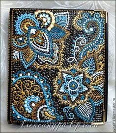 Купить Кардхолдер на 48 карт - обложка на документы, кардхолдер, ручная роспись, голубой, золотой
