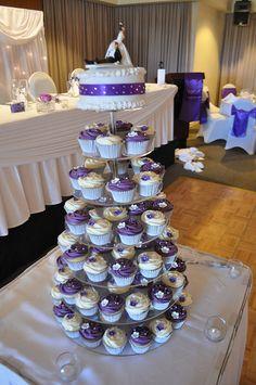 Purple and white wedding cupcakes