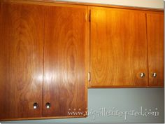 After pic - Vintage kitchen cabinets cleaned with 409 and Howards Feed n Wax!