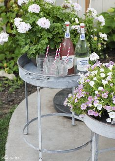 Gorgeous vintage inspired galvanized tray stands with french lemonades and vintage juice glasses by Ella Claire
