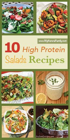 10 High Protein Salad Recipes that are healthy and filling enough to count as a whole meal! + Homemade Ranch Dressing. Yum!