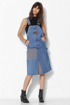 Urban Renewal Patched Overall Dress - Urban Outfitters Denim Overall Dress, Overall Shorts, Urban Dresses, Urban Outfits, Cheap Dresses, Girls Dresses, Dungaree Dress, Hip Hop Fashion, Urban Outfitters Dress