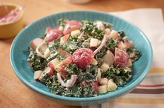 MIRACLE WHIP, Kale & Apple Potato Salad Recipe - Kraft Recipes... Warning: This is NOT your average potato salad. It's even better, thanks to the addition of kale and apples. Proceed with hunger.
