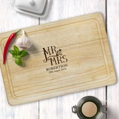 Personalised Dotty Mr and Mrs Rectangular Chopping Board