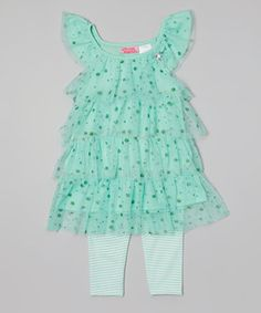This Mint Glitter Tiered Tunic & Leggings - Infant & Toddler by Young Hearts is perfect! #zulilyfinds
