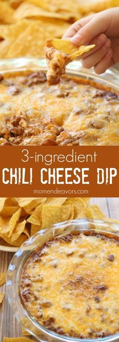 Easy chili cheese dip recipe - just 3 ingredients and perfect for football parties or tailgates!