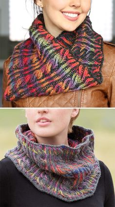 Free Knitting Pattern for Brioche Cable Cowl - This reversible cowl features a brilliant contrast between variegated yarn and a neutral black or gray. Worsted yarn. Designed by Vanessa Ewing for Plymouth yarn.