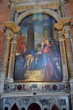 Titian, Madonna di Ca' Pesaro, 1526, Santa Maria Gloriosa dei Frari, Venezia. Frame and canvas recently adopted by Save Venice for restoration.