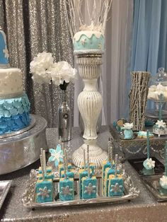 Snowflake treats at a winter wonderland birthday party! See more party ideas at CatchMyParty. Winter Wonderland Decorations, Winter Party Decorations, Winter Wonderland Birthday, Decoration Party, Winter Birthday Parties, Winter Parties, Birthday Celebration, Elsa, Baby Shower Winter