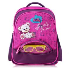 Girls Cute Bear School Bag Orthopedic Children's Backpack Boys Racing Car School Backpack Mochila Escolar with Free Glasses Gift