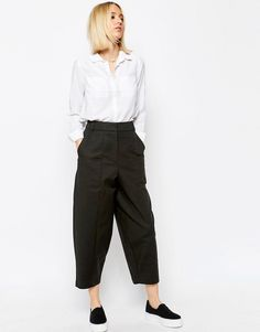 ASOS WHITE Ovoid Cropped Trousers.  Trousers by ASOS WHITE Cotton-rich knit Added stretch for comfort  High rise Zip fly Side pockets Cropped cut  Oversized fit - falls generously over the body Machine wash 97% Cotton, 3% Elastane