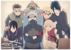Tags: Fanart, NARUTO, Haruno Sakura, Uzumaki Naruto, Uchiha Sasuke, Sai, Hatake Kakashi, Team 7, Yamato (NARUTO), Pakkun, PNG Conversion, Tore (ksg666xx), Treburg