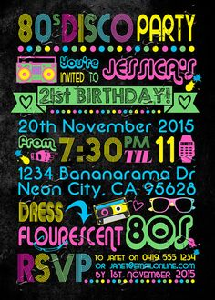 80s Neon Disco Invitation INSTANT DOWNLOAD by SassabyParties