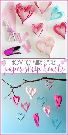 I can't believe these are this simple to make!!  paper strip hearts - super cute valentine's craft idea - Sugar Bee Crafts
