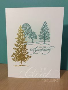 Handmade by Whitney, The Card Studio, Made with: Stampin' Up! Lovely as a Tree, Best of Greetings, Gold Embossing Powder