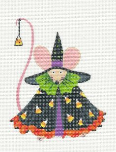 Danji Designs adorable Halloween Witch Mouse handpainted HP Needlepoint Canvas