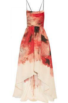 Lela Rose Robe longue du soir en gazar de soie imprimée | NET-A-PORTER