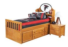 Well, I was searching for ideas on updating a Captain's Bed, and look what I found!  Ha, Rise up...and Redecorate!!  This one is from Rooms to Go.