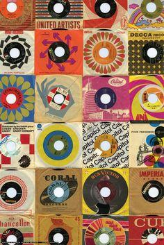☮ American Hippie Psychedelic Art Classic Rock Music ~ Vinyl 45RPM Wallpaper