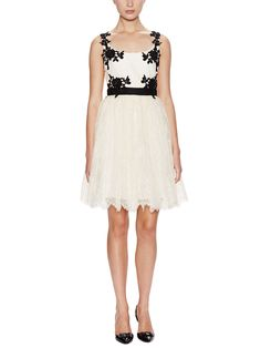 Lace embellished scoopneck cocktail dress by notte by marchesa