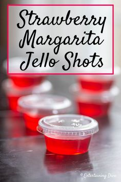 Easy Strawberry Margarita Jello Shots Recipe - Entertaining Diva Recipes @ From House To Home I love this strawberry Margarita recipe made with tequila and strawberry jello. The red color is perfect for Valentine's Day, the Super Bowl or a birthday party. Tequila Jello Shots, Lemonade Jello Shots, Easy Jello Shots, Strawberry Margarita Jello Shots, Jello Shot Cups, Champagne Jello Shots, Jello Shot Recipes, Alcohol Drink Recipes, Margarita Recipes