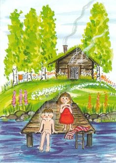 Postcard travelled 132 km miles) in 4 days (from Finland to Finland): Traditional finnish activity. from the sauna to the lake! Painting For Kids, Art For Kids, Children Painting, Lake Art, Whimsical Art, Cute Illustration, Illustrations, Pretty Pictures, Summertime