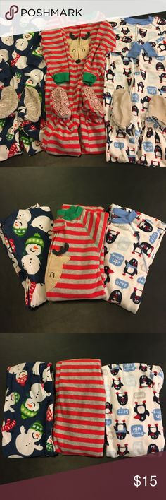 CARTER'S Lot: 3 Fleece Footie Pajamas Winter Xmas Carter's super comfy fleece footie jammies! Lot of three (3) in size 3T. Snowmen, Reindeer & Penguins. Pre-owned with photographed flaws on penguin and snowman. Norma wear. Very cozy! Carter's Pajamas
