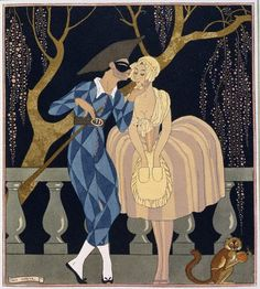 Georges Barbier Harlequin's Kiss print for sale. Shop for Georges Barbier Harlequin's Kiss painting and frame at discount price, ships in 24 hours. Cheap price prints end soon. Art Deco Illustration, Illustrations, Arte Art Deco, Moda Art Deco, Arte Fashion, Art Deco Fashion, Kiss Painting, Pierrot, Art Deco Stil