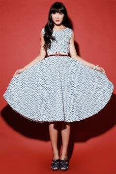 Vintage 1950's Full Circle Polka Dot Party Dress http://thriftedandmodern.com/vintage-1950s-full-circle-party-dress