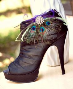 Shoe Clips Peacock Fan. Couture Bride Bridal Bridesmaid Birthday Feminine Rhinestone Steampunk Rockabilly Statement, Luxurious Luxe Gift. $62.50, via Etsy.