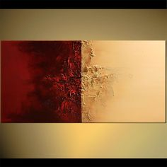 Original abstract art paintings by Osnat - red and beige textured painting