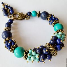 Купить Браслет из натуральных камней. Браслет из лазурита и турквенита - браслет, Браслет ручной работы