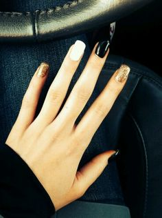 Black/white and gold glitter accent nails