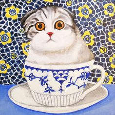 Kitten in Cup by Vicky Mount. Individually printed by Art Cove on Environment-friendly Card.