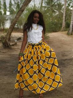 African style...like the combo of African print with white blouse.