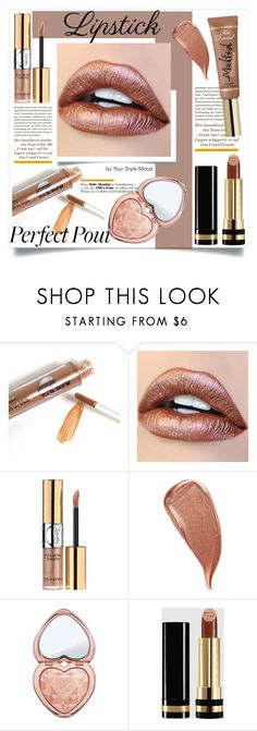 """""""Metallic lips"""" by yourstylemood ❤ liked on Polyvore featuring beauty, Yves Saint Laurent, Kevyn Aucoin, Too Faced Cosmetics, Gucci, makeup, polyvoreeditorial, polyvorecontest, metallicmakeup and metalliclipstick"""