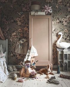 Today we are sharing 21 Dreamy Nursery Designs with wallpaper which gives the rooms pizzazz , style and personality to the baby's room. Baby Bedroom, Nursery Room, Girls Bedroom, Bedroom Decor, Dream Bedroom, Nursery Ideas, Painted Nursery Furniture, Diy Kids Furniture, Plywood Furniture